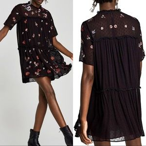 Zara Embroidered Dotted Mesh Mini Dress
